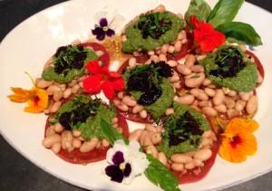 Layered White Bean Heirloom Tomatoes